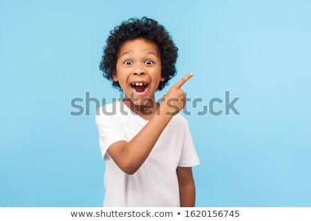 Wow néz fiatalember bemutat termék izolált Stock fotó © hsfelix