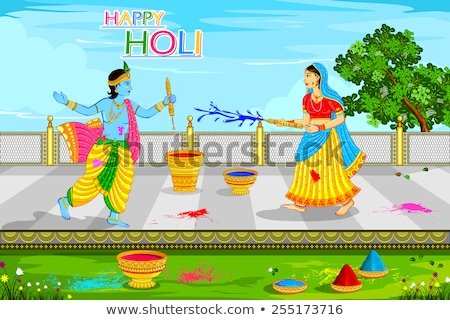 Krishna Playing Holi Stock photo © vectomart