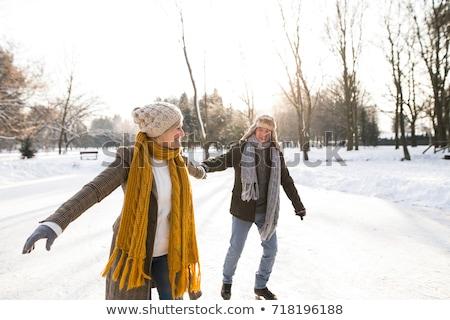 çift buz pateni açık havada komik kız Stok fotoğraf © deandrobot