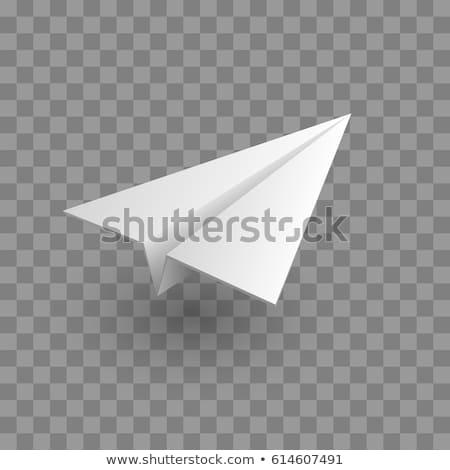 Papír repülőgép fehér izolált közelkép kilátás Stock fotó © cherezoff