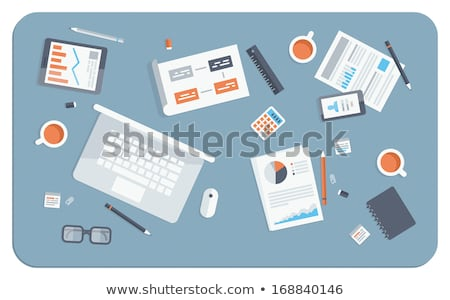 Work Table Tablet and Document Design Flat Stock photo © robuart