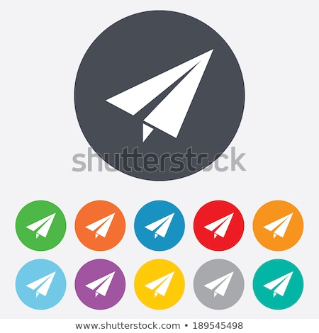 circle buttons with paper airplanes stock photo © bluering