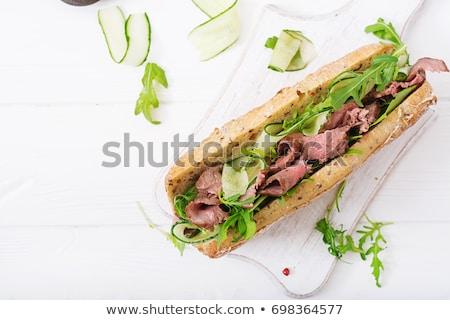 rundvlees · sandwich · Open · voedsel · plantaardige · vers - stockfoto © digifoodstock