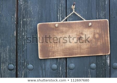 ストックフォト: 木製 · 歓迎 · ラベル · 実例 · 白 · にログイン