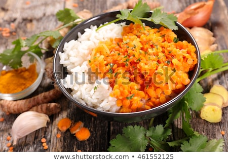arroz · servido · enfeite · moderno · refeição - foto stock © m-studio