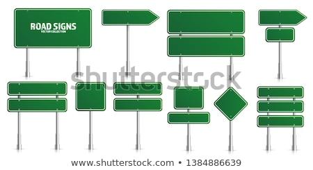 Stock fotó: Zöld · jelzőtábla · fehér · izolált · égbolt · utazás