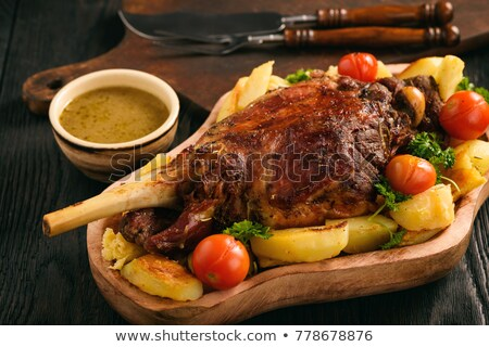 cordeiro · em · batata · fundo · carne - foto stock © m-studio