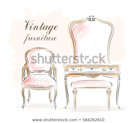 Vintage kleedkamer vector antieke meubels mode Stockfoto © beaubelle