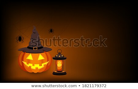 halloween · parti · siluet · gülümseme · kabak · şapka - stok fotoğraf © khabarushka