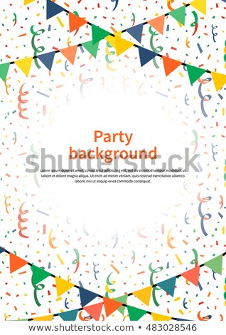 Party background with garlands and confetti on white, a4 size vertical illustration Stock photo © Evgeny89