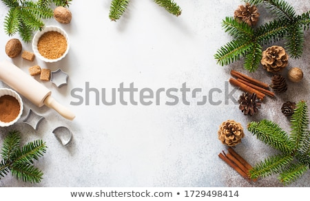 culinary background for recipe of Christmas baking Stock photo © yelenayemchuk