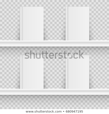 Stockfoto: Boekenplank · boeken · twee · houten · boekenkasten · lege