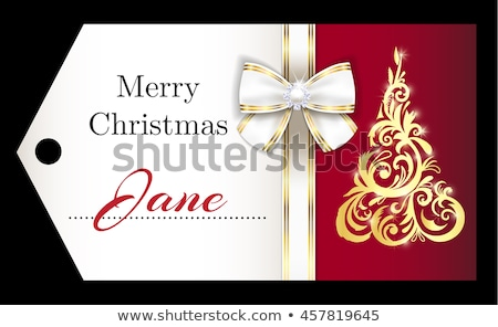 Luxury red Christmas name tag with golden ornament Christmas tree and white ribbon Stock photo © liliwhite
