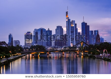 skyline of frankfurt by night stock photo © meinzahn