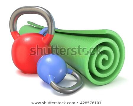 green fitness mat and kettle bells weights 3d stock photo © djmilic