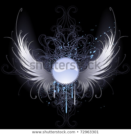 round banner with angel wings stock photo © blackmoon979