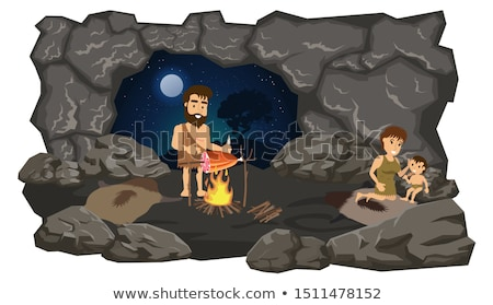 primitive couple cave Stock photo © adrenalina