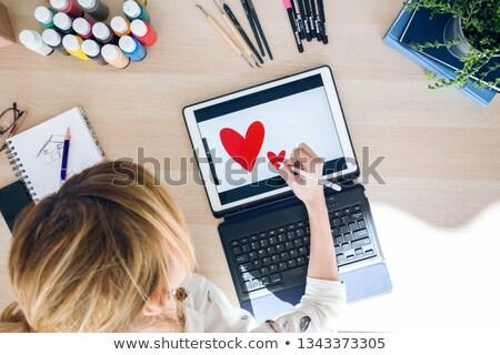 Közelkép női kezek digitális táblagép absztrakt Stock fotó © stevanovicigor