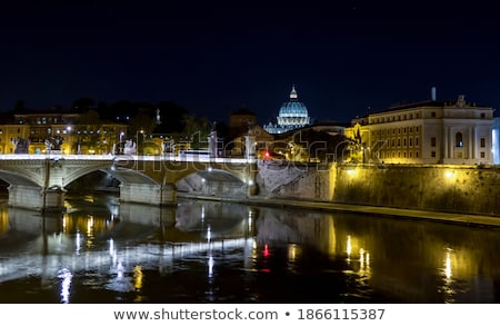 The bridges over Tiber river with Castel Sant Angelo in backgrou Stock photo © Xantana