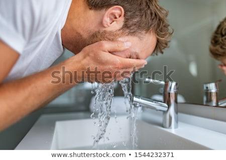 Férfi arc mos mosás hidratáló krém Stock fotó © robuart