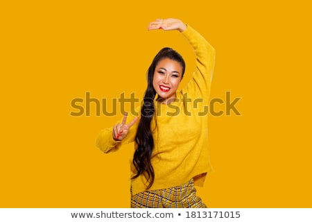 Amazing asian model with bright makeup Stock photo © deandrobot