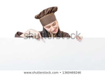 Caucasian chef cook pointing with his forefinger. Stock photo © RAStudio