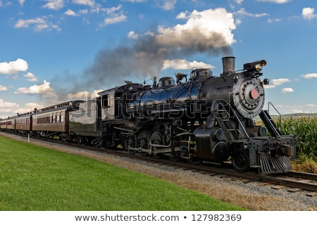 buhar · tren · siyah · beyaz · duman · bağbozumu · motor - stok fotoğraf © brandonseidel