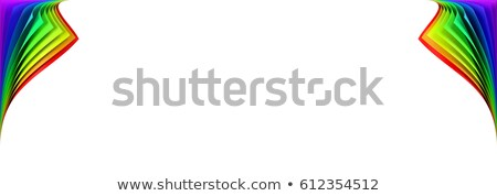 Blank banner mockup with two rainbow colored curled corners Stock photo © pakete