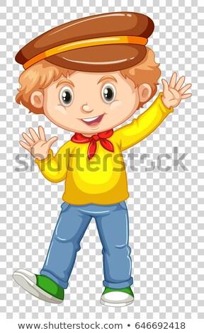 Little boy in yellow shirt waving hand Stock photo © bluering