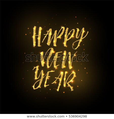 happy new year gold glitter lettering with frame from golden dot stock photo © masay256