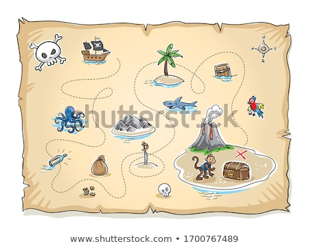 vector flat style illustration of treasure chest and map stock photo © curiosity