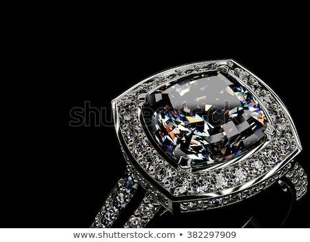 silver ring with big diamond stock photo © gsermek