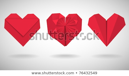 Rosso 3D cuori origami isolato bianco Foto d'archivio © brulove