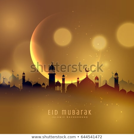 awesome eid festival greeting design with golden mosque and ligh stock photo © sarts