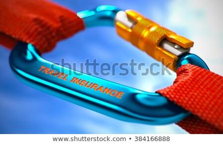 Bleu crochet texte Voyage assurance rouge Photo stock © tashatuvango
