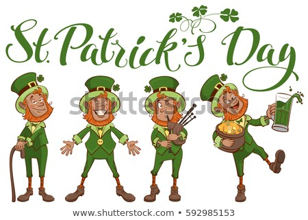 St. Patricks day lettering text. Set fun cartoon man stock photo © orensila
