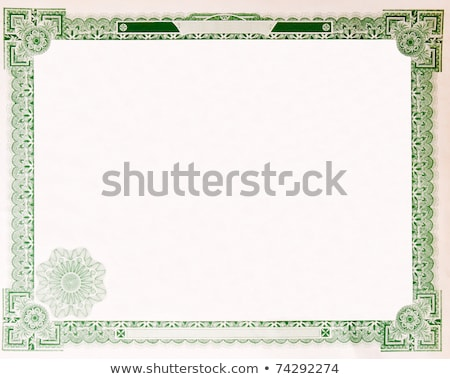 Old Vintage Stock Certificate Empty Boarder stock photo © Qingwa