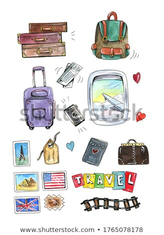 Utazó táska vízfesték illusztráció fehér művészet Stock fotó © jara3000