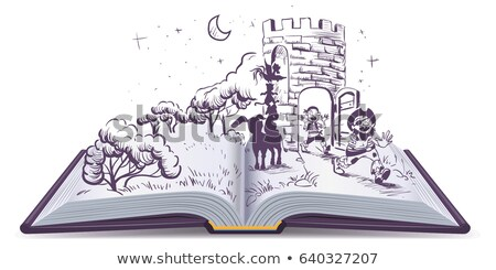 Open book illustration Tale of Bremen musicians Stock photo © orensila