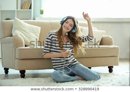 teen girls listen music sing stock photo © lenm