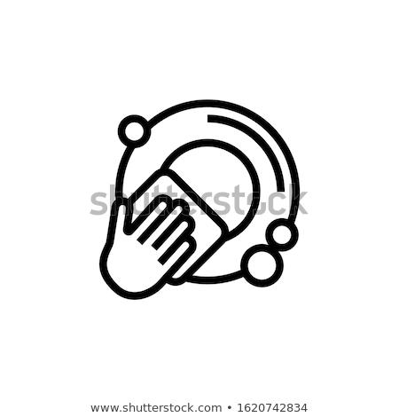 Brudne dania ikona naczyń podpisania żywności Zdjęcia stock © popaukropa