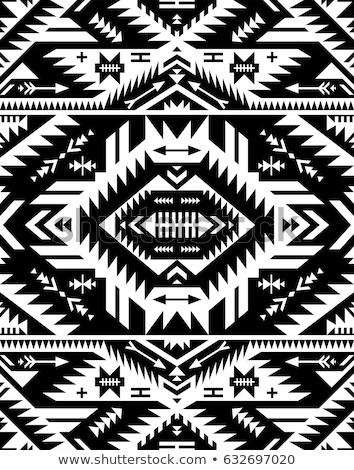 Black and white tribal ethnic pattern with geometric elements, t Stock photo © BlueLela