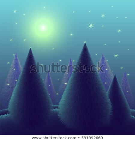 Christmas tree on a blue sparkly night sky Stock photo © alphaspirit