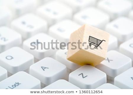 kosár · gomb · billentyűzet · modern · számítógép · billentyűzet · számítógép - stock fotó © tashatuvango