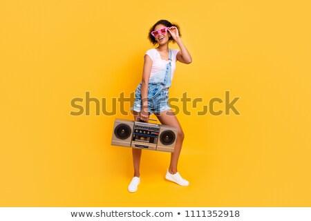 肖像 若い女の子 レコードプレーヤー ストックフォト © deandrobot