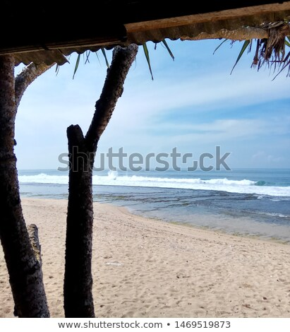 Taking shelter under Beach hut Stock photo © IS2