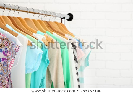 Women clothes of blue color on wooden hangers Stock photo © Virgin