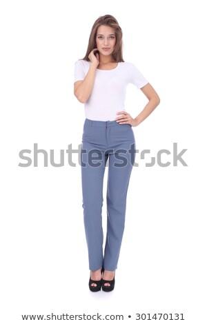 Mode model lang grijs pants Stockfoto © DenisMArt