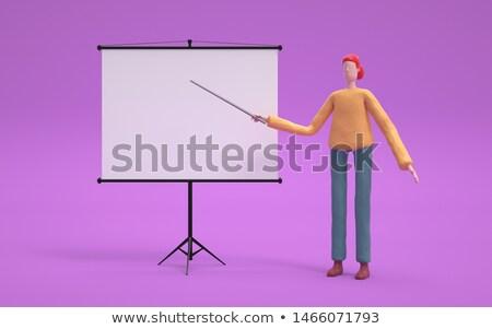 3D zakenvrouw projector scherm zakenlieden illustratie Stockfoto © texelart