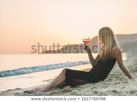Szőke nő lány estélyi ruha iszik bor gyönyörű Stock fotó © Pilgrimego